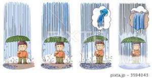 生暖かい雨の降水過程。